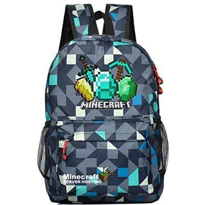 fe7fd84220 Minecraft Backpack Schoolbag Travel Satchel Sports bag Bookbag (Blue ...