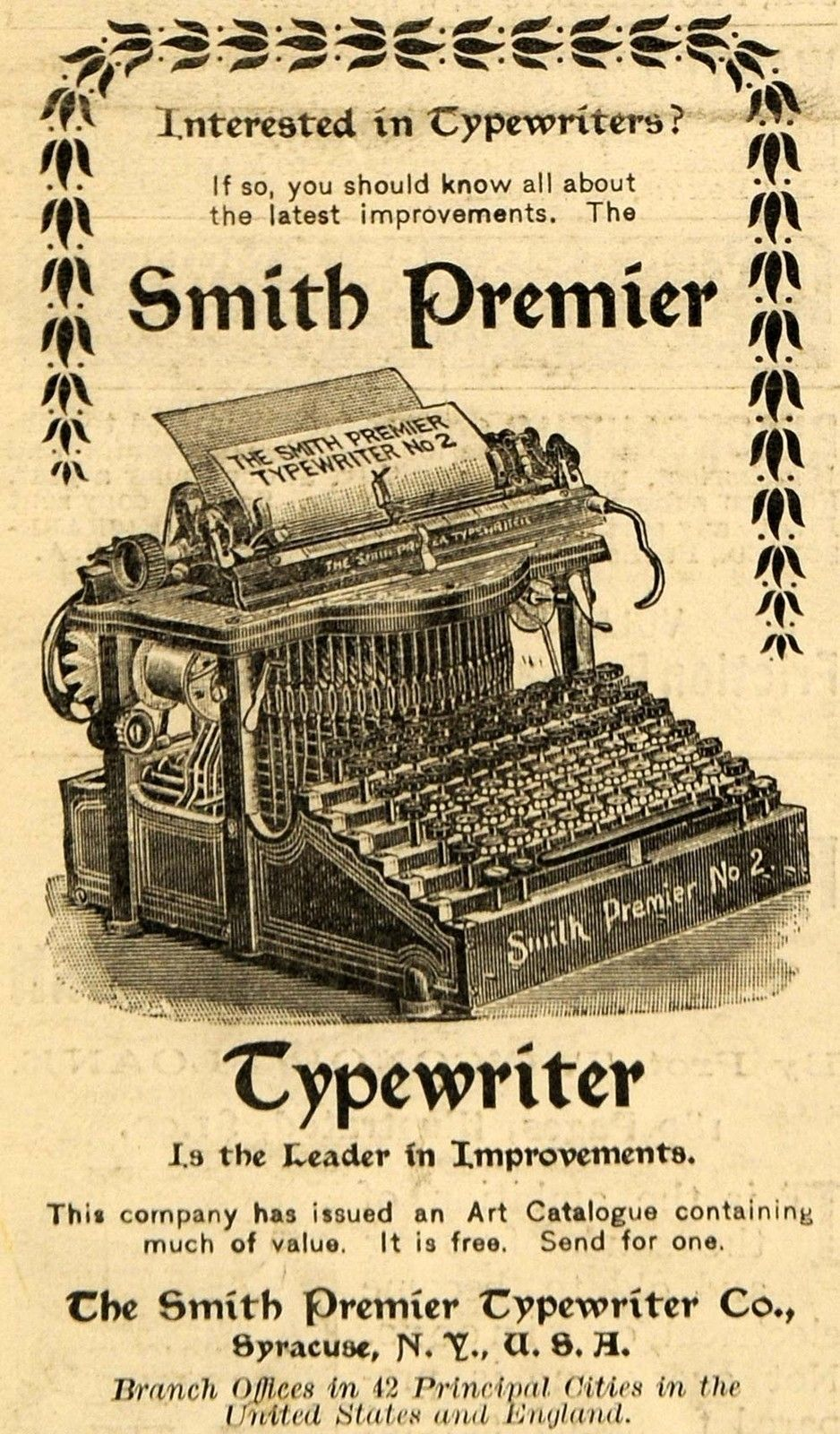 1898 Ad for Antique Smith Premier Typewriter Writing ...