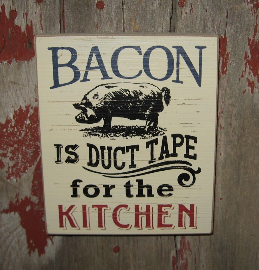 BACON PIG Farm Wood Wall/Shelf SIGN*Primitive/French ...