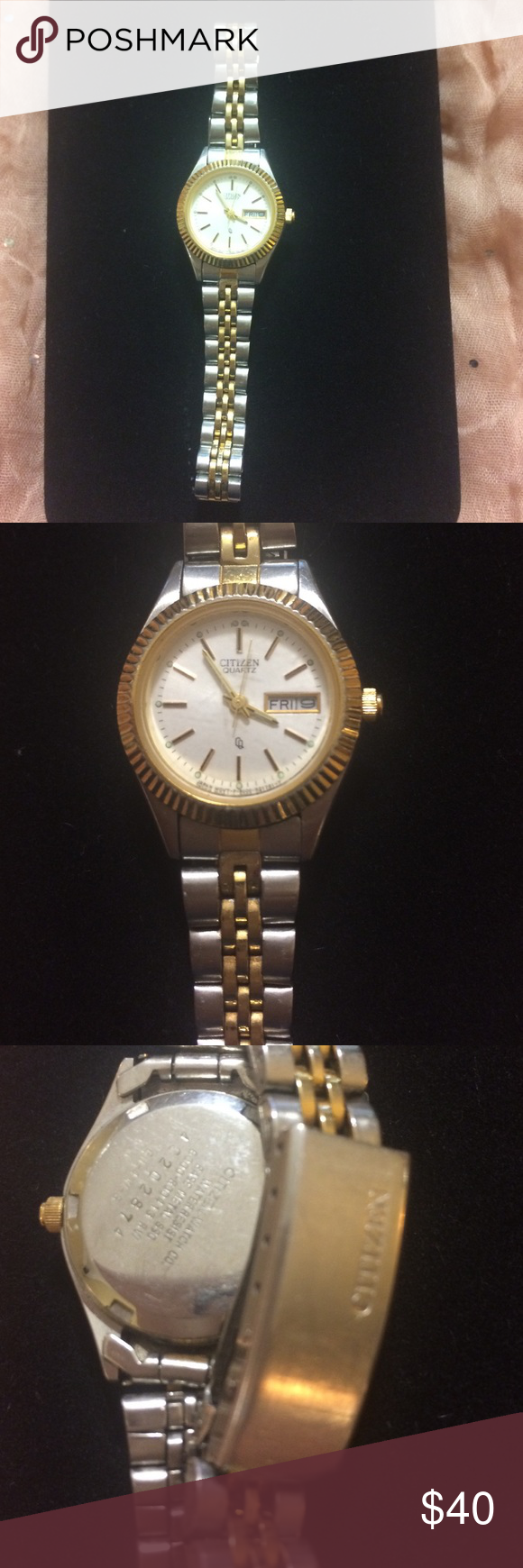 Citizen quartz watch. Stainless steel. Used but still beautiful. Needs new battery. Band will not close so will need to be replaced. Has a few scratches on face of watch. Citizen Accessories Watches