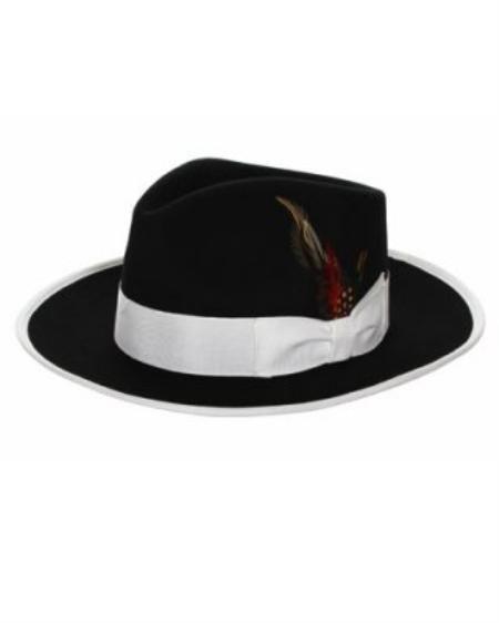 Mens 1920s Style Hats and Caps Mens Black White Fedora Hat  69.00 AT  vintagedancer.com 05c2aae0356
