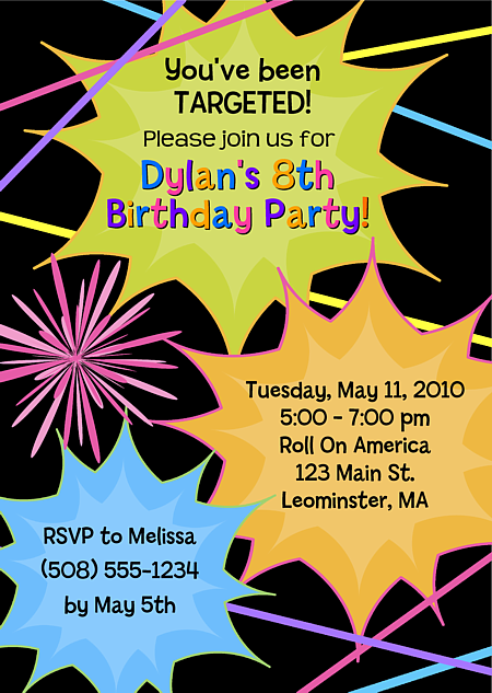 Laser tag birthday party invitations laser tag sports kids laser tag birthday party invitations 100 each httpfestivityfavors filmwisefo Images