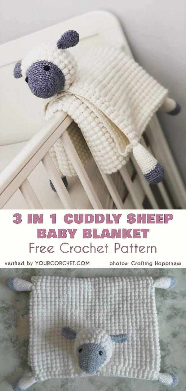 Cuddly Sheep Baby Toy Pram Blanket Free Crochet Pattern #babyblanket
