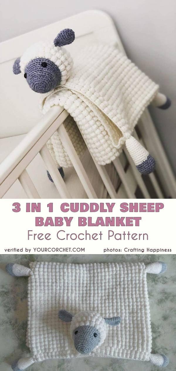 Cuddly Sheep Baby Toy Pram Blanket Free Crochet Pattern #babyblanket