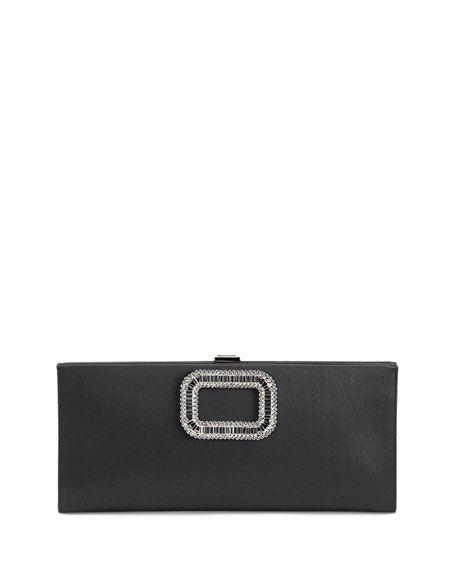 92f78ead2143 ROGER VIVIER Pilgrim Strass-Buckle Satin Clutch Bag, Black. #rogervivier  #bags #clutch #silk #hand bags #