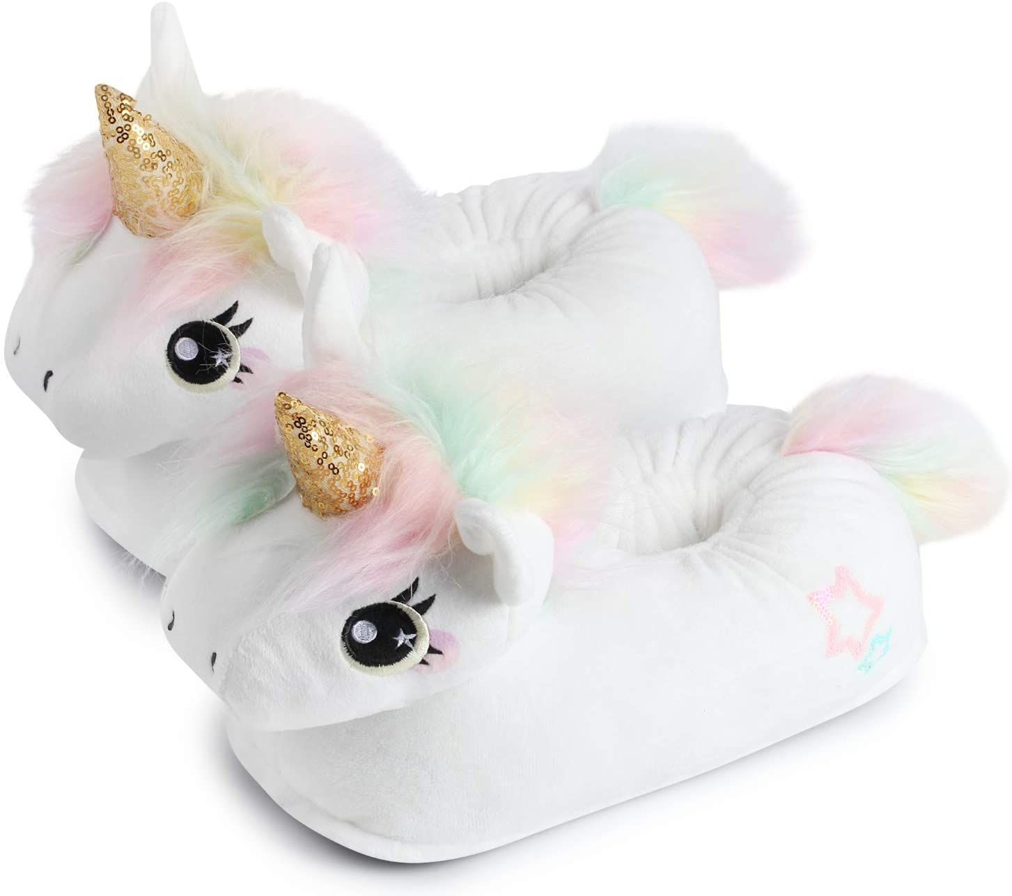 Photo of corimori (20+ designs) Pantofole Peluche Animali Donna Uomo Bambini, Taglia Unica 34-44, Unicorno Nero, 1847