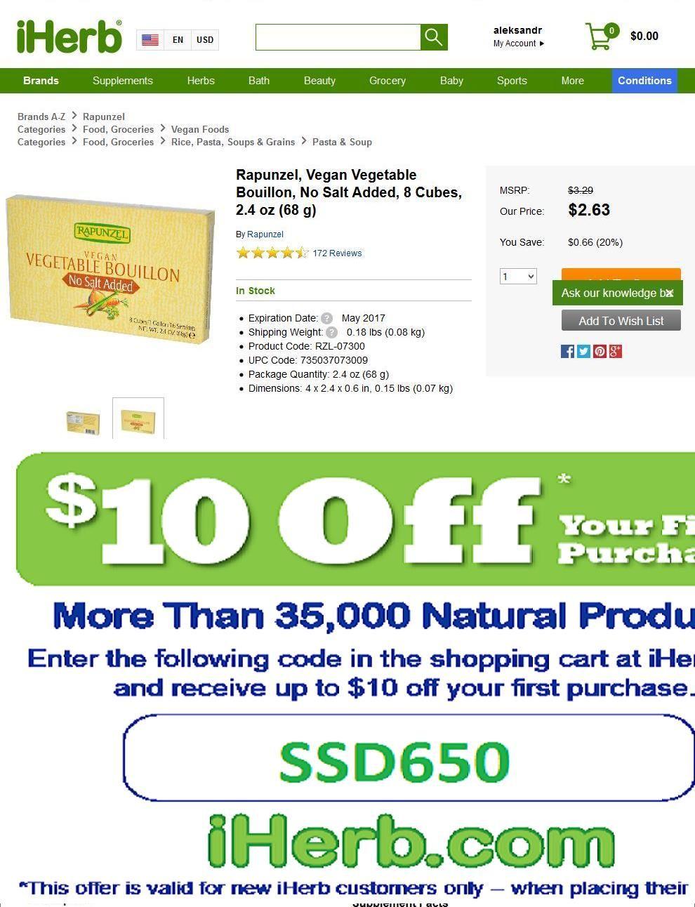 Rapunzel, Vegan Vegetable Bouillon, No Salt Added, 8 Cubes, 2.4 oz (68 g)   http://iherb.com/Rapunzel-Vegan-Vegetable-Bouillon-No-Salt-Added-8-Cubes-2-4-oz-68-g/30385