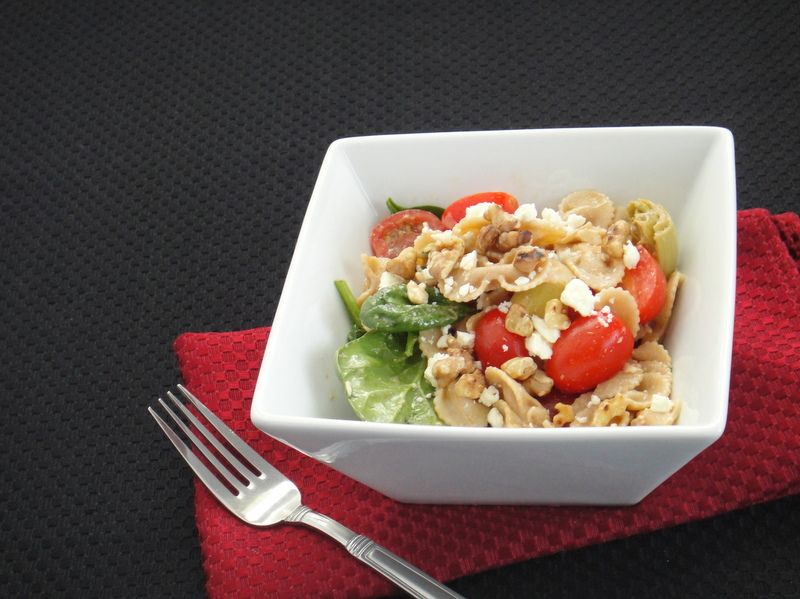 Creamy Balsamic Pasta Salad with Vegetables and Feta - By Tammy Kresge - From Skinny Mom's Kitchen