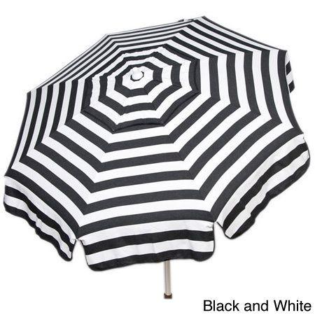 Italian Bistro 6-foot Acrylic Striped Patio Umbrella (Black and White - Patio Pole)
