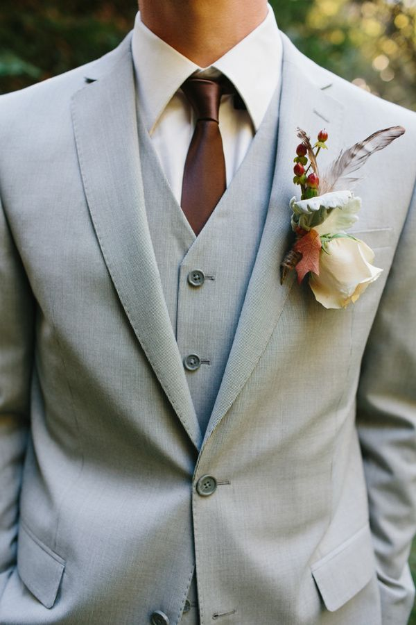 fall boutonniere with feathers // photo by Marianne Wilson ...