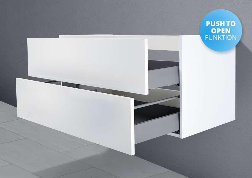 Unterschrank zu Duravit P3 Comforts 85 cm Waschtisch Grifflos Push To Open + Softclose Beton Anthrazit