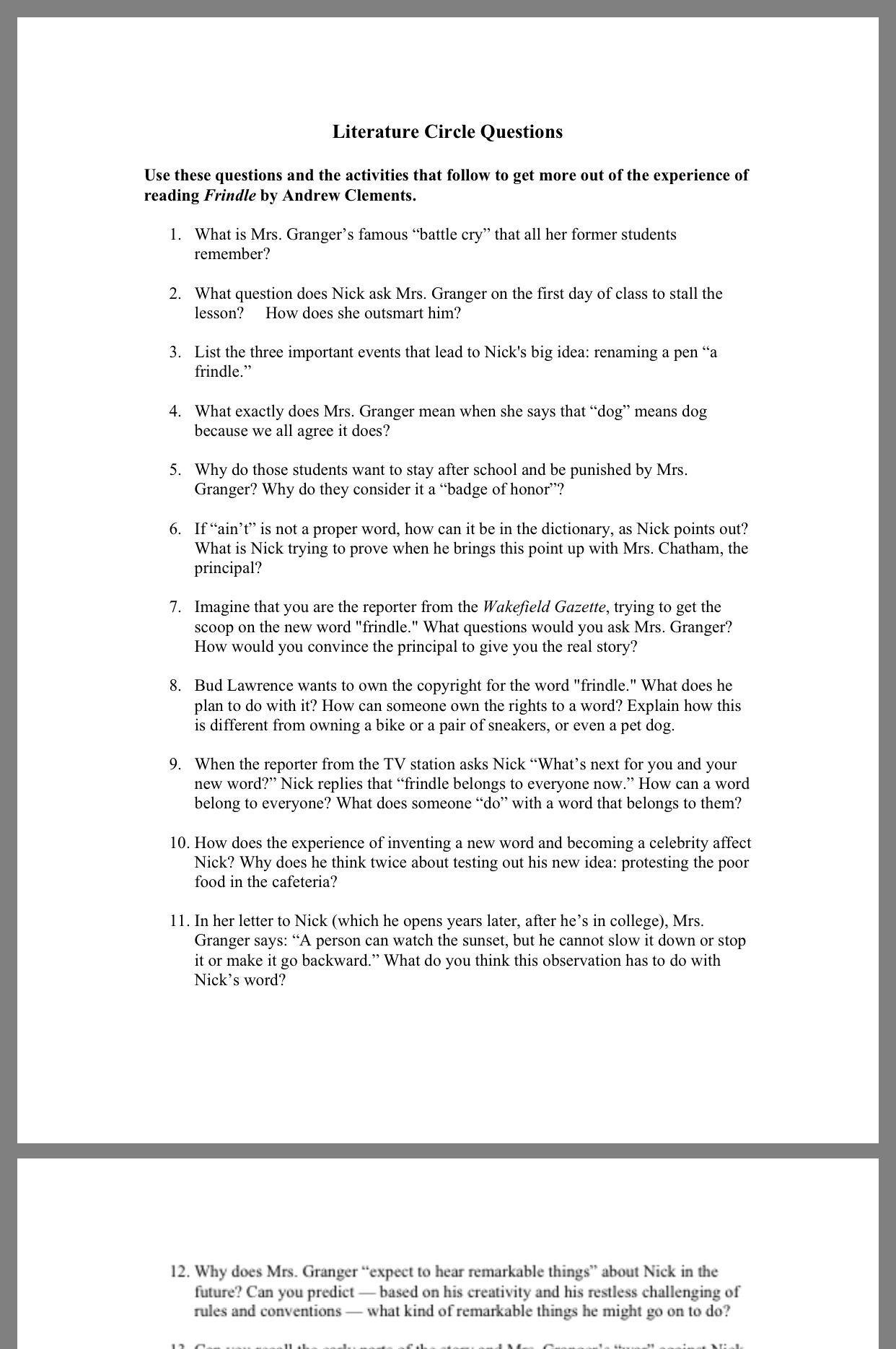 Reading Worksheets 5th Grade