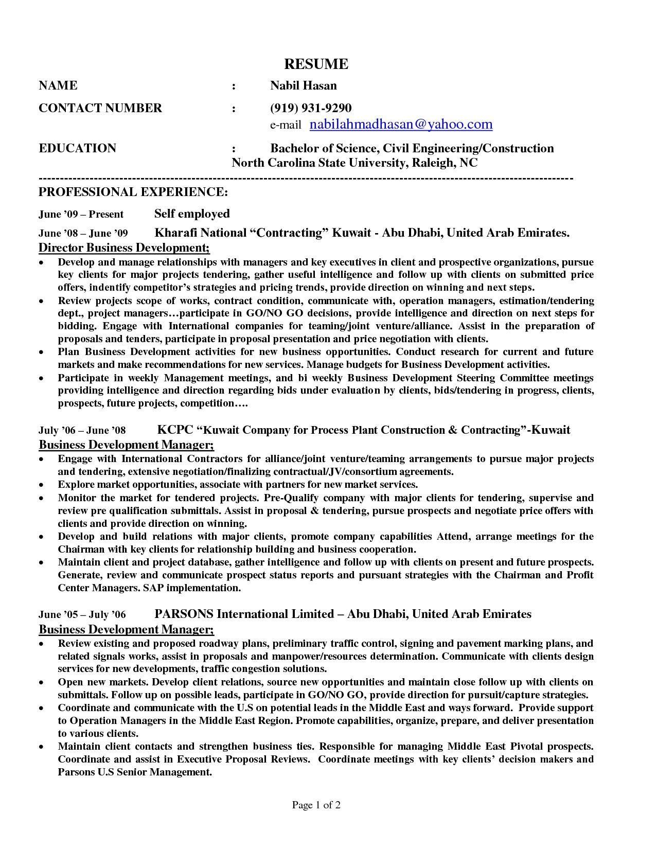 Self Employed Resume Templates Yolarnetonic