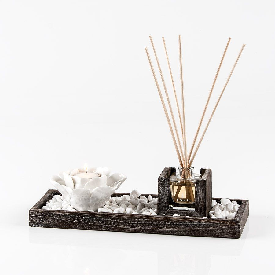 Interior design home fragrance gift set - Mood Reed Tray And Candle Gift Set Awakening By Dusk