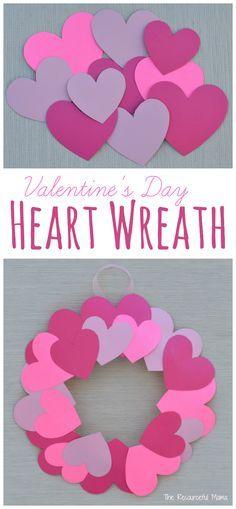 Paper Plate Valentine\'s Day Heart Wreath Craft | San valentín ...