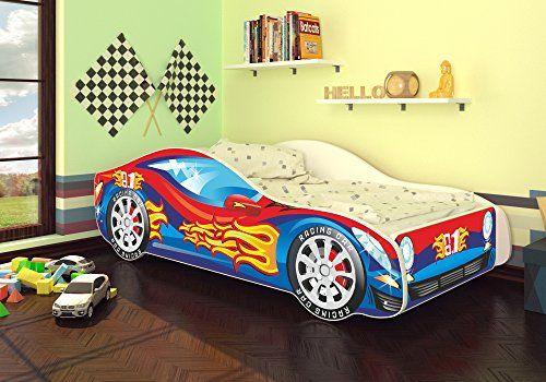 autobett kinderbett bett auto car junior in zwei farben mit lattenrost und matratze 70x140 cm. Black Bedroom Furniture Sets. Home Design Ideas