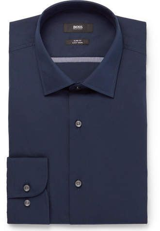 a19337275 Hugo Boss Navy Jerris Slim-Fit Cotton-Poplin Shirt || Available Colors:  navy Available Sizes: Eu44 ,Eu43 Hugo Boss ' classic navy shirt is cut in  the ...