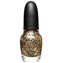 Sephora by OPI is quality lasting nail polish. This actually adds gold flecks to you bare nails or layered on a color. The price listed is high, but I found it at my local Sephora store for 3.50. This makes the weary winter days so much more fun.
