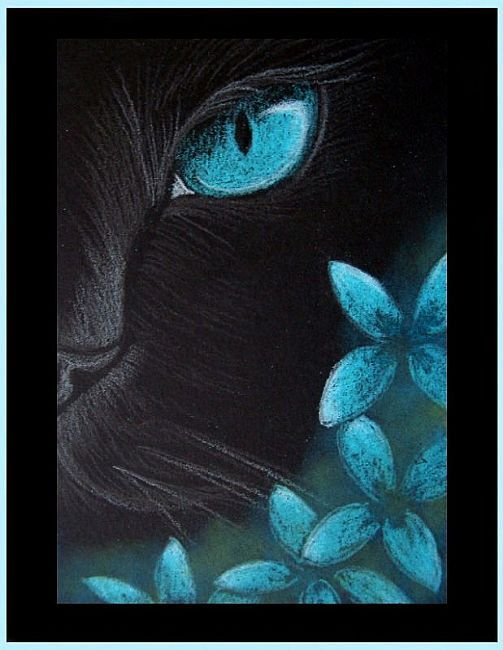 stunning Painting On Black Canvas Part - 12: Art: Black Cat - Aqua Flowers 4 by Artist Cyra R. Cancel