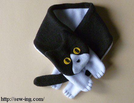 白黒猫マフラー 縫製パターン 無料型紙 縫製プロジェクト