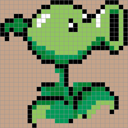 Plants vs. Zombies - Peashooter. Pixelated by Ofer Reichman.