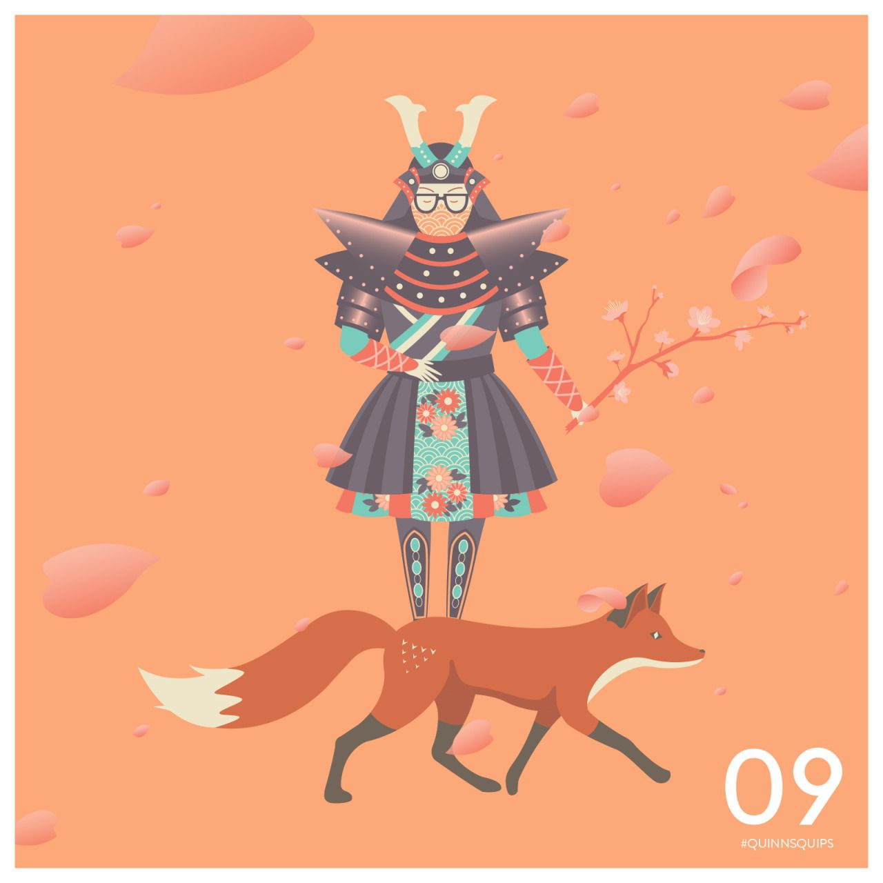 """""""You can cut all the flowers but you cannot keep Spring from coming."""" #QuinnsQuips #illustration #fox #japan"""