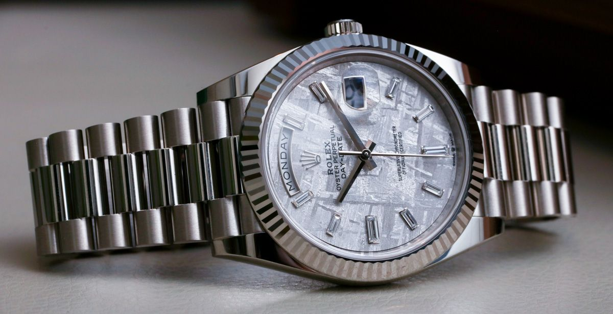 Icymi Rolex Day Date 40 White Gold Meteorite Dial 228239 Watch