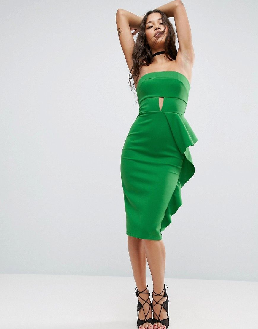 Long dresses for wedding party  ASOS Bandeau Keyhole Ruffle Midi Dress  Wear it  Pinterest  Midi