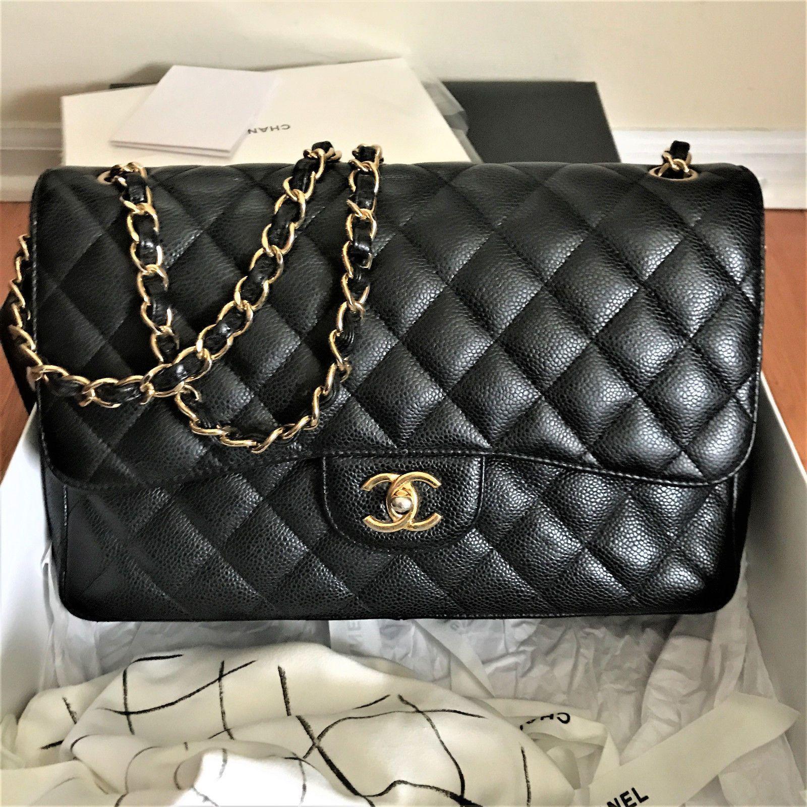 6417979437e4 Authentic Chanel Black Caviar Jumbo Classic 2.55 Double Flap Bag Gold HW  #Chanelhandbags
