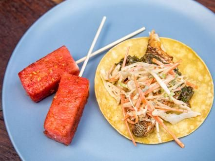 Easy entertaining dinner party recipes fondue dishes and taco spice get blackened fish tacos with taco spiced slaw and charred scallion salsa recipe from food network forumfinder Gallery
