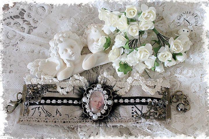"""BRACELET MANCHETTE SHABBY """"MARIE ANTOINETTE"""" EN LIN : Bracelet par le-grenier-d-elisa"""