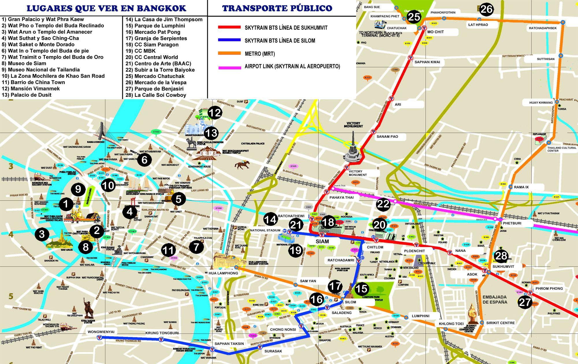Mapa turistico de bangkok definitivo thailand for B b new york centro