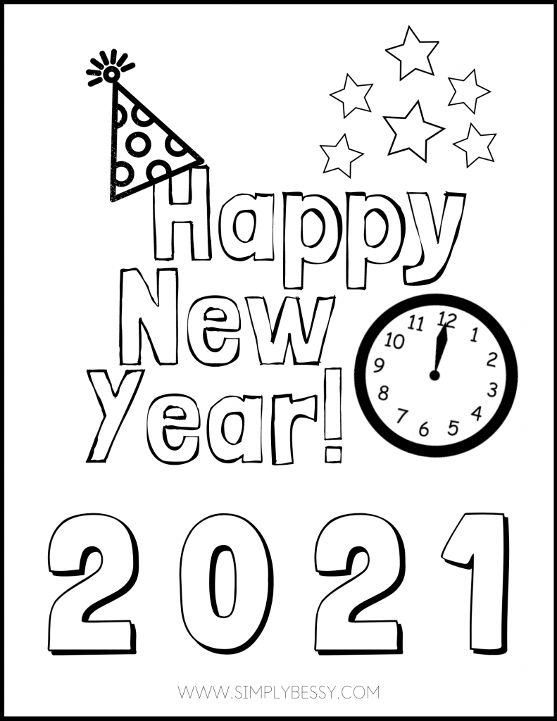 New Year Goal Setting For Kids With Free Printable Simply Bessy In 2020 New Year Coloring Pages New Year S Eve Colors Newyear