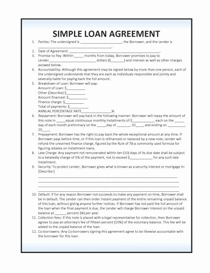 Loan Form Template Fresh 14 Loan Agreement Templates Excel Pdf Formats In 2020 Contract Template Personal Loans Collateral Loans
