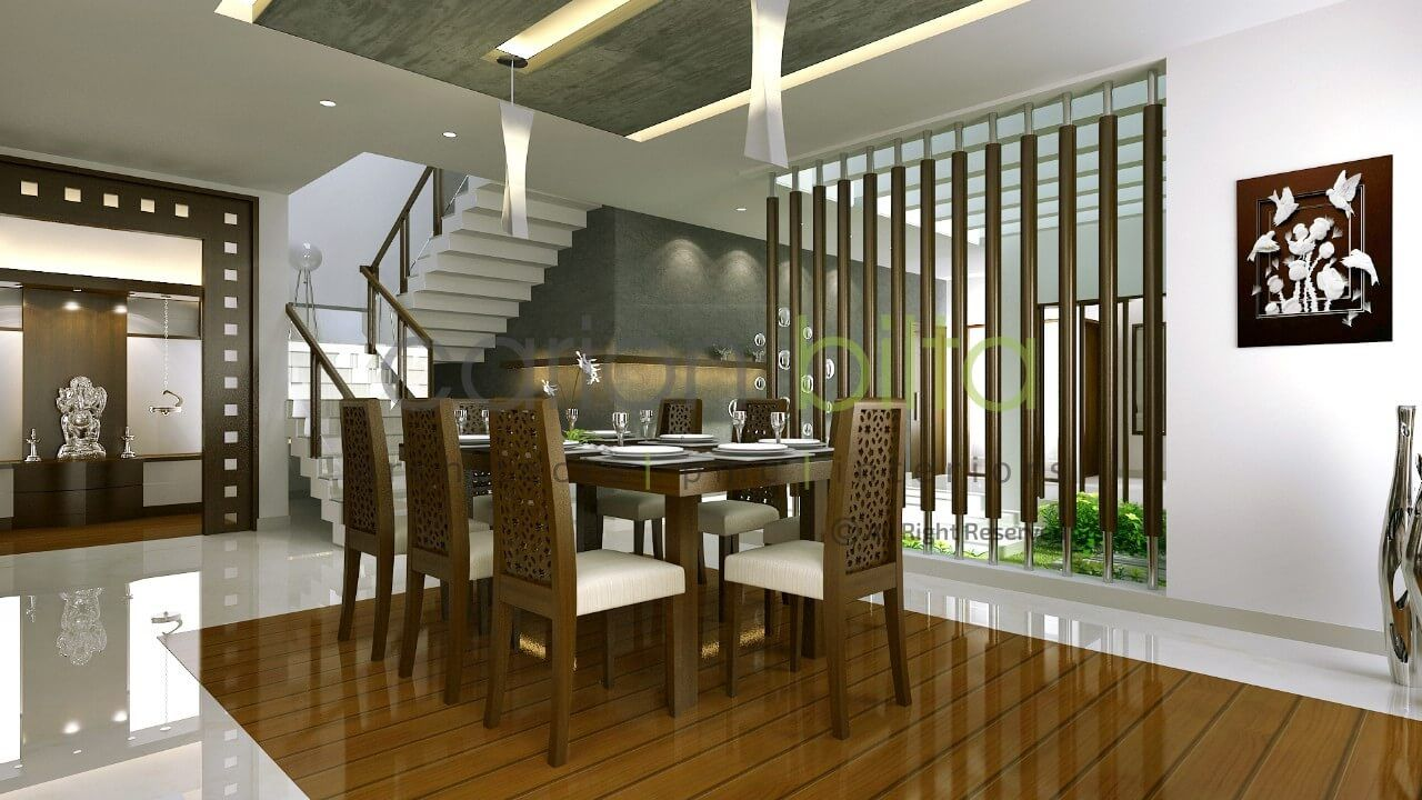 Kerala home interior design dining room put long thin mirrors on vertical louvers as curtains lovely room