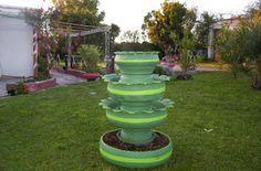 De Todo, Un Poco .: Fuentes para plantas con neumáticos y llantas viej...
