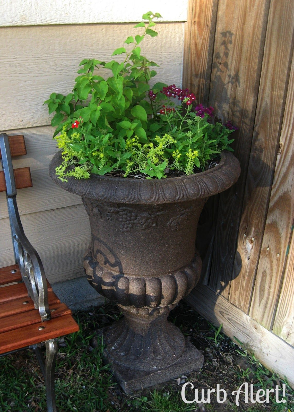 Concrete Garden Planters Stone Spray Paint Way Cool Curb Alert Outdoor