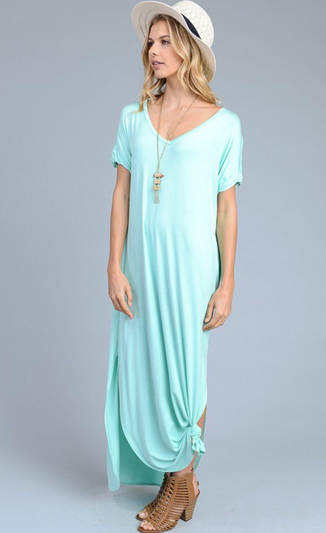 Abigail Mint T Shirt Maxi Dress Comfortable Maxi Dresses Pocket Maxi Dress Maxi Shirt Dress [ 1843 x 1129 Pixel ]