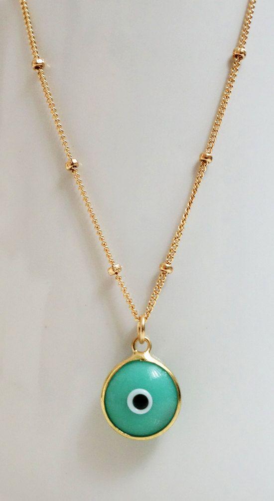 Turquoise Blue Evil Eye Necklace Gold Evil Eye Jewelry Gioielli Blu