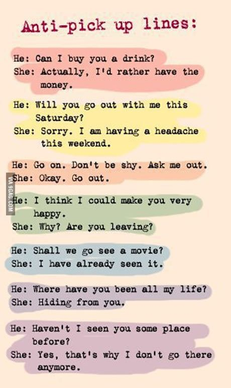 Anti-pick up lines - Funny
