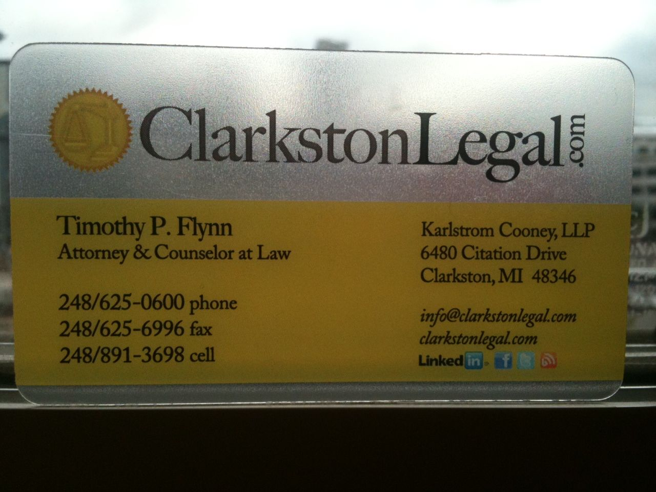 Transparent Business Card- clarkstonlegal.com | The Lawyer ...