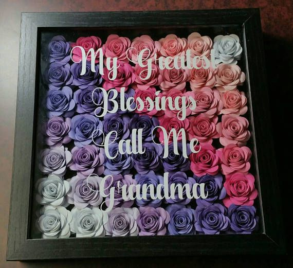 9x9 Rolled Flower Shadowbox Frame Paper Flowers Memory