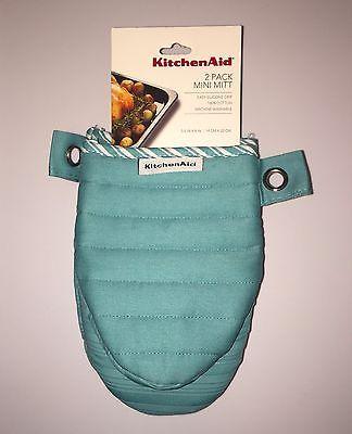 Kitchenaid Mini Oven Mitt Silicone Grip Pot Holder Set Of 2 Aqua Nwt Mini Oven Oven Mitts Pot Holders