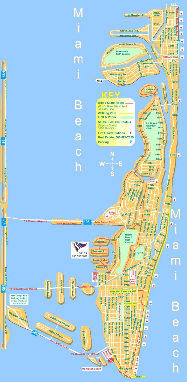 miami beach mapa - mapa de miami beach (florida - usa