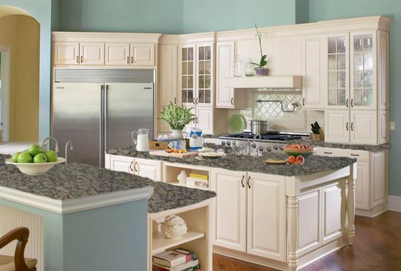 Kitchen Color Mock Up With Baltic Brown Granite Counter Tops And