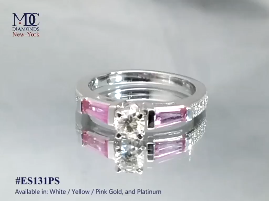 Pink Sapphire Baguettes and Diamonds Engagement Ri