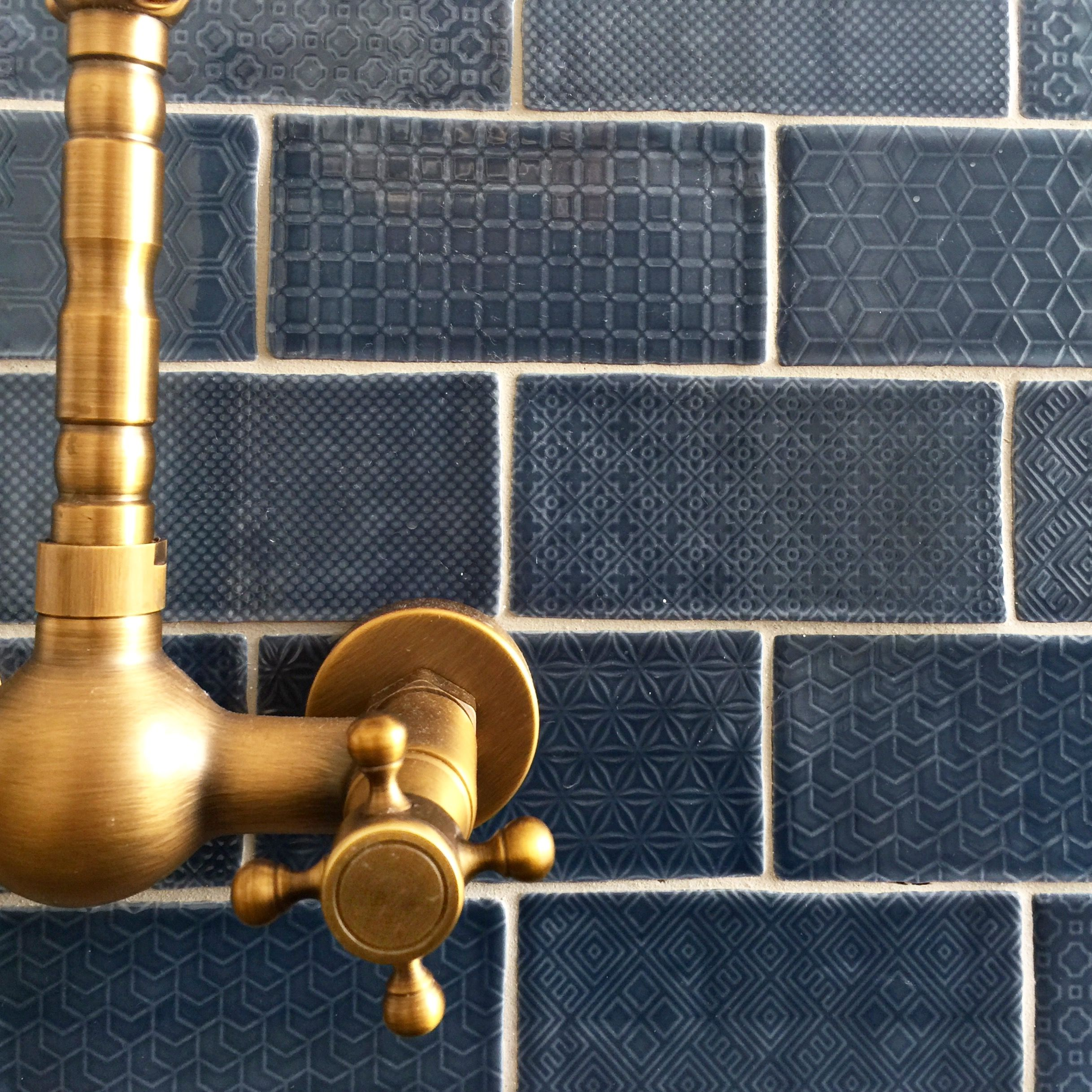 gold tap ware and denim blue subway tiles make up my laundry the_beach_lounge - Subway Tile House Interior