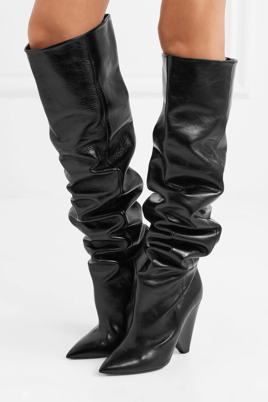 0367c0c86f7 Saint Laurent - Niki glossed-leather knee boots in 2019