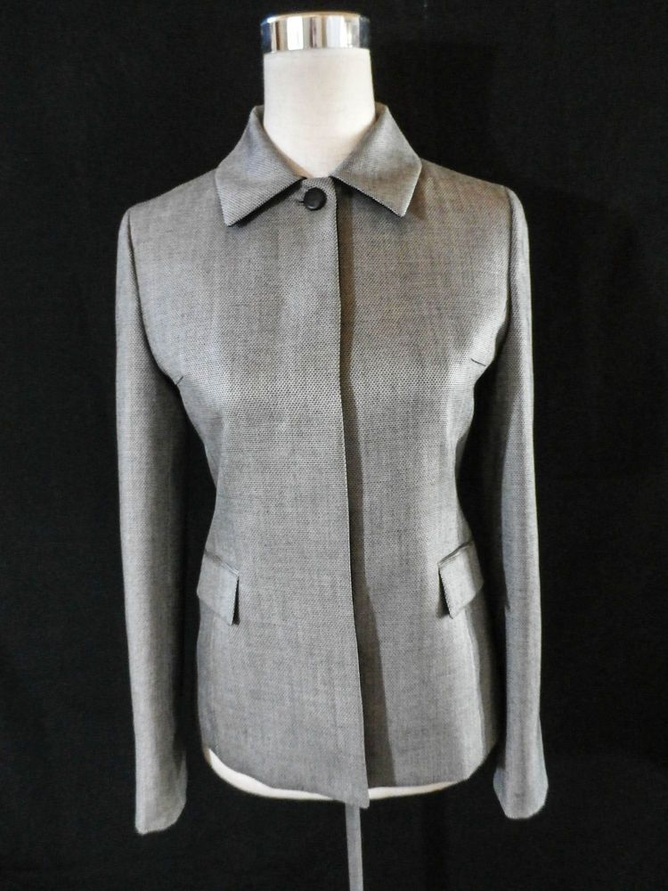 NWOT EMCEE Size 4 (85-90-160) LINEN BLEND EQUESTRIAN TWEED FITTED JACKET #Emcee #BasicJacket