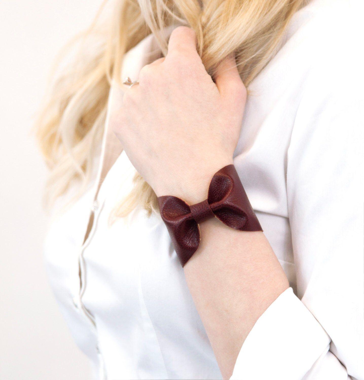 Bow Bracelet Wrist Cuff Burgundy Bracelet Maroon Cuff | Etsy